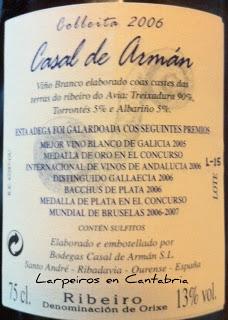 Blanco Casal de Arman 2006, ¡Qué bueno!