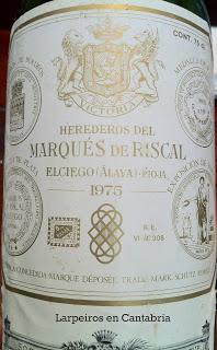 Vino Tinto Marqués de Riscal de 1975, ala, de cuando Todo empezó a cambiar