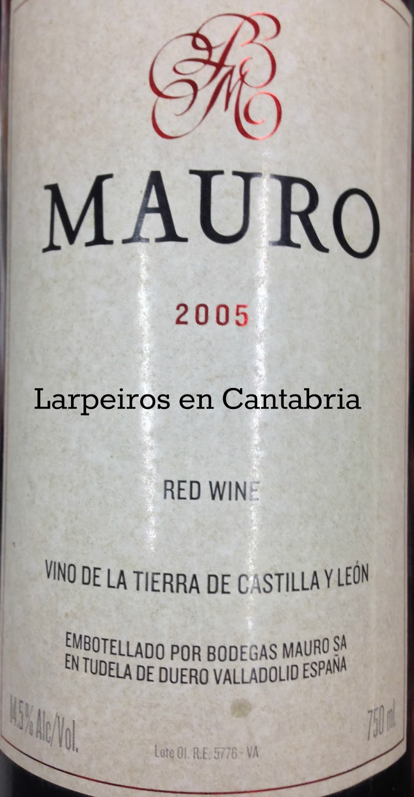 Tinto Mauro 2005: A sus pies Mariano