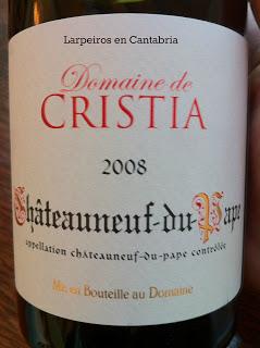 Vino Tinto Domaine de Cristia 2008 Châteauneuf-du-pape, impresionante