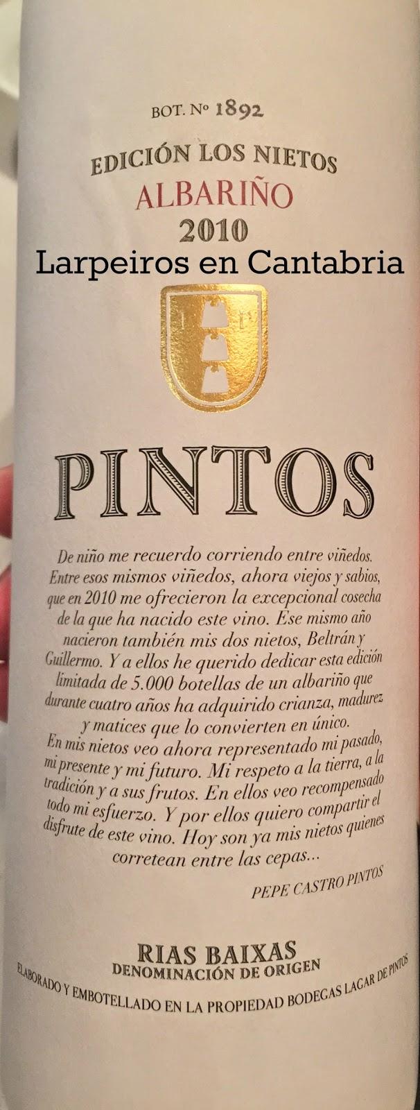 Vino Blanco Lagar de Pintos 2010 Edición Los Nietos: Por fin está aquí
